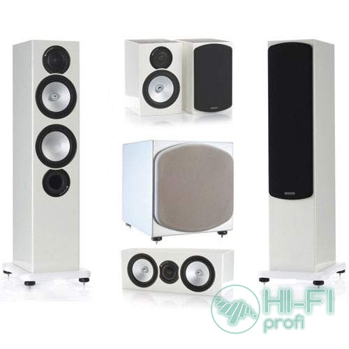 Комплект акустики 5.1 Monitor Audio RX6 + сабвуфер RXW12 белый лак