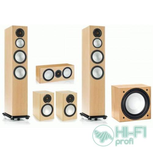 Комплект акустики 5.1 Monitor Audio Silver 8 + сабвуфер Silver W12 Natural Oak