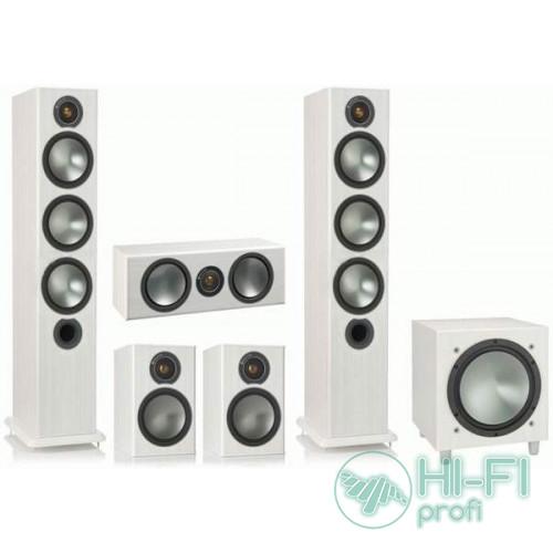 Комплект акустики 5.1 Monitor Audio Bronze 6 + сабвуфер Bronze W10 white