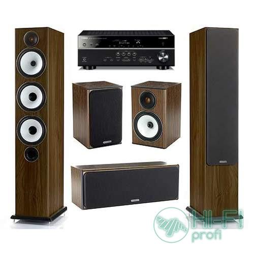 Домашний кинотеатр Акустика 5.0 Monitor Audio BX6 walnut + AV-ресивер Yamaha RX-V477