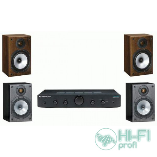 Стерео комплект Усилитель Cambridge Audio Topaz AM5 + MONITOR AUDIO Monitor Reference 1 Black/Walnut