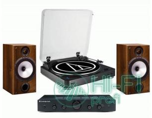 Стерео комплект Винил Audio-Technica AT-LP60 Bluetooth + Topaz AM5 + MONITOR AUDIO Monitor Reference 2 Walnut
