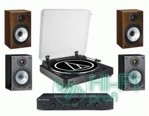 Стерео комплект Винил Audio-Technica AT-LP60 Bluetooth + Topaz AM5 + MONITOR AUDIO Monitor Reference 1 Black/Walnut